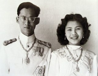 His Majesty King Bhumibol Adulyadej with Queen Sirikit wedding